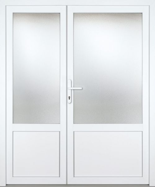 """Kunststoff Nebeneingangstür """"CHIEMSEE"""" 60mm 2-flügelig Doppeltür asymmetrisch"""