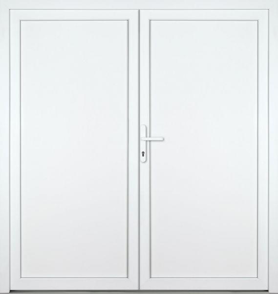 """Kunststoff-Aluminium Nebeneingangstür """"DIANA-M"""" 74mm 2-flügelig Doppeltür symmetrisch"""