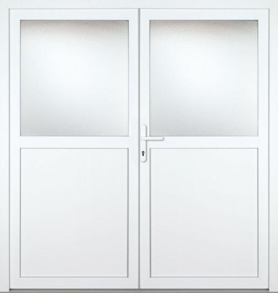 """Kunststoff Nebeneingangstür """"PAULA-M"""" 74mm 2-flügelig Doppeltür symmetrisch"""