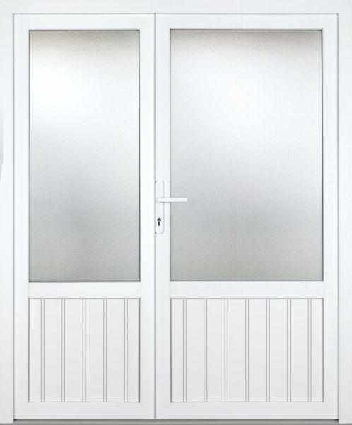 """Kunststoff Nebeneingangstür """"NICOLE"""" 74mm 2-flügelig Doppeltür asymmetrisch"""