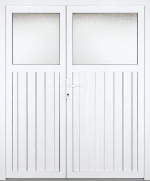 """Kunststoff Nebeneingangstür """"SCHLIERSEE"""" 60mm 2-flügelig Doppeltür asymmetrisch"""