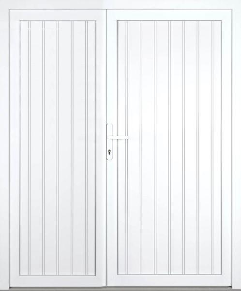 """Kunststoff Nebeneingangstür """"TEGERNSEE"""" 60mm 2-flügelig Doppeltür asymmetrisch"""